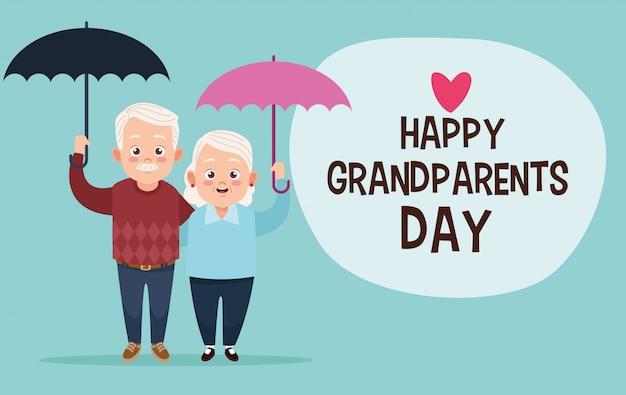 Cute happy grandparents couple with umbrellas