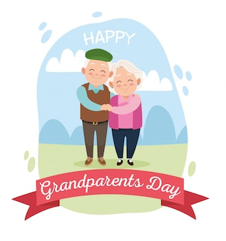 Милая счастливая пара бабушек и дедушек