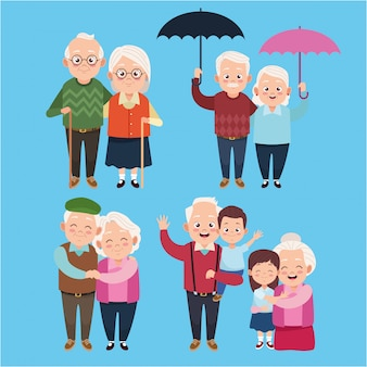 Cute happy grandparents with little kids characters