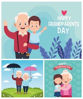 작은 아이들과 함께 귀여운 행복한 조부모. 행복한 조부모의 날