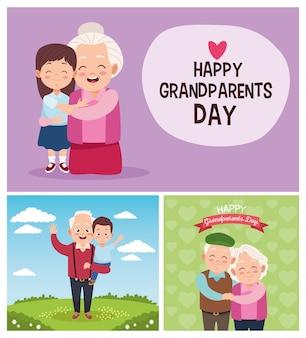 Симпатичные счастливые бабушки и дедушки с маленькими детьми в лагере. с днем бабушки и дедушки
