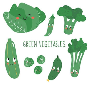 Cute and happy green vegetables with face exppression in doodle style