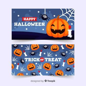Cute happy halloween banner template