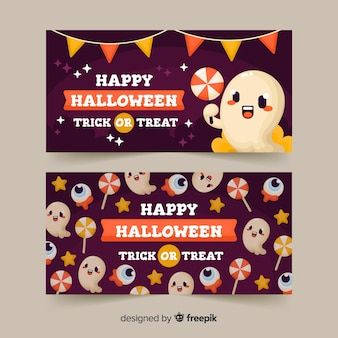 Cute happy halloween banner template