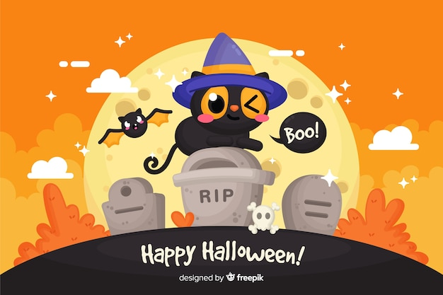 Cute happy halloween decorative background
