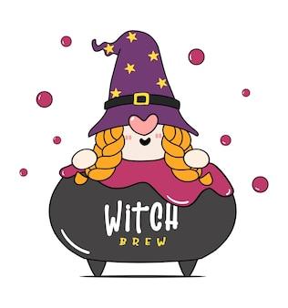 독 양조 냄비 가마솥, 마녀 양조, 만화 캐릭터 낙서 손으로 그린 개요에 귀여운 해피 할로윈 마녀 그놈