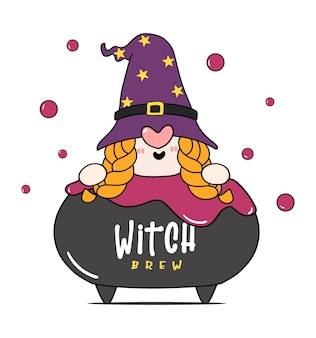 Cute happy halloween witch gnome in poison brew pot cauldron, witch brew, cartoon character doodle hand drawn outline