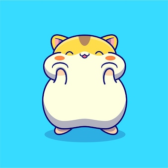 Cute happy hamster cartoon character. animal nature isolated.