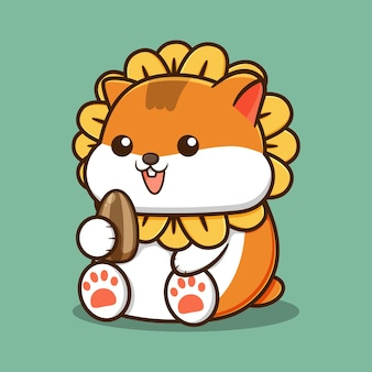 Cute happy hamster with sunflower hat and holding a sunflower seed cartoon on green background