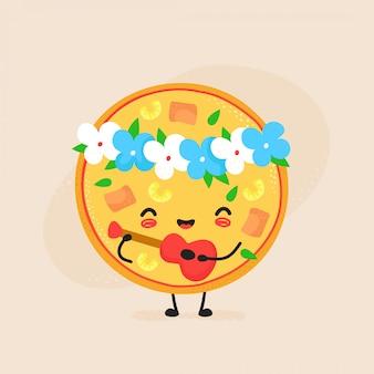 かわいい幸せなハワイのピザのキャラクター。フラット漫画イラストアイコン。白で隔離。ピザのキャラクター