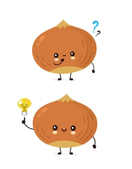 Cute happy hazelnut with question mark and light bulb.  flat cartoon character illustration icon . isolated on white . nuts