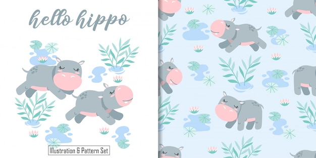 Cute happy hippo birthday card hand drawn seamless pattern