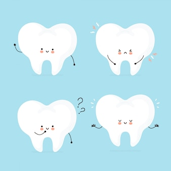 Cute happy human tooth character set collection.