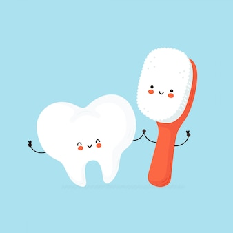 Cute happy human tooth and toothbrush character.