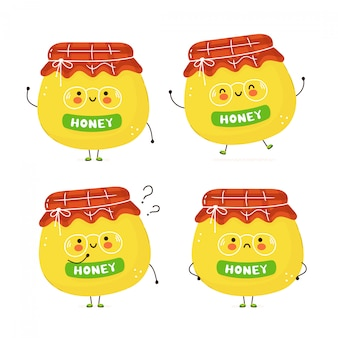 Cute happy jar of honey set. isolated on white . vector cartoon character illustration design,simple flat style. jar of honey character bundle, collection concept
