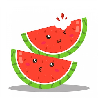Cute happy juicy watermelon character vector design