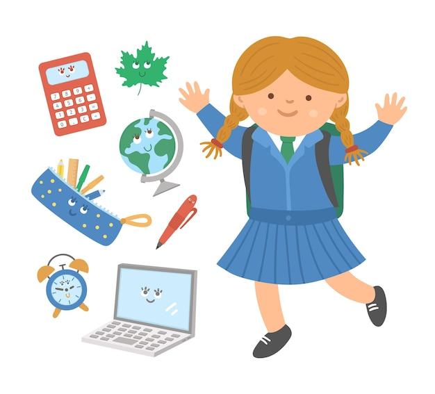 평평한 스타일의 귀여운 교실 물건을 가진 귀여운 행복한 점프 여학생. 학교 벡터로 돌아가기