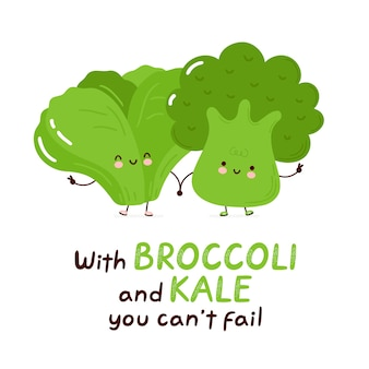 Cute happy kale and broccoli. isolated .   cartoon character hand drawn style illustration. with broccoli and kale you can't fail card