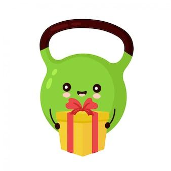 Милый счастливый персонаж гири с подарочной коробкой. мультяшный персонаж рисованной стиль иллюстрации