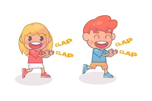 귀여운 행복한 아이 박수 손 응원 미소