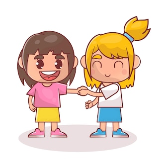 친구와 손 흔들어 하 고 귀여운 행복 한 아이