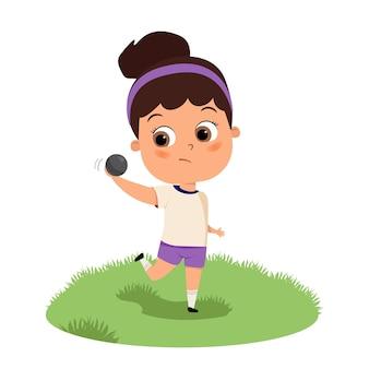 Симпатичная счастливая девочка-ребенок играет в бейсбол или толкание ядра, плоская карикатура, подросток, бегущий с мячом Premium векторы