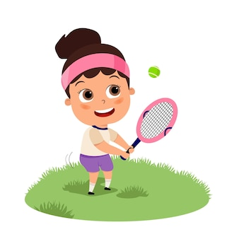テニス ラケットで白い背景の 10 代のテニス フラット漫画イラストを遊んでいるかわいい幸せな子供の女の子