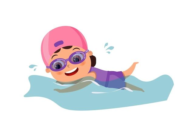 プールで泳いでいるかわいい幸せな子供の女の子