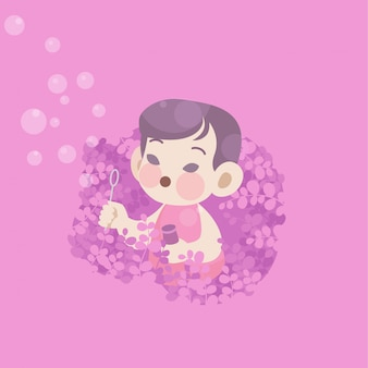 Cute happy kid play bubble joy in the garden vector