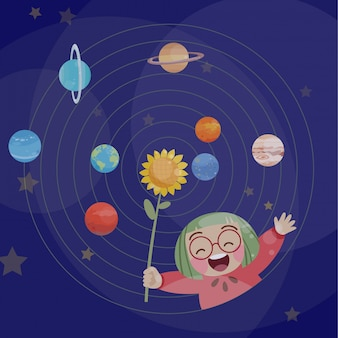 Cute happy kid play with planets vector illustration fantasy