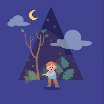 Cute happy kid on the season night vector illustration