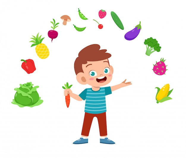 Cute happy kid with vegetables