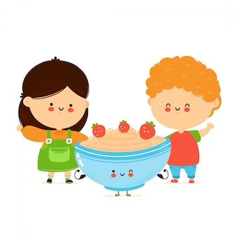 かわいい幸せな子供たちとオートミールのお粥のボウル。漫画のキャラクターの手描きスタイルのイラスト。オート麦の朝食カップのコンセプト