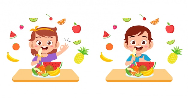 Cute happy kids eat salad vegetable fruits