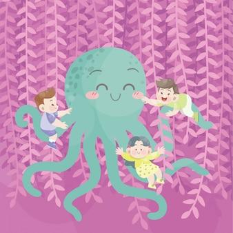 Cute happy kids play with octopus in the garden joy vector
