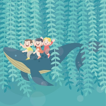Cute happy kids play with whale joy vector