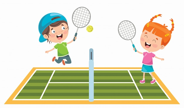 Cute happy kids playing tennis