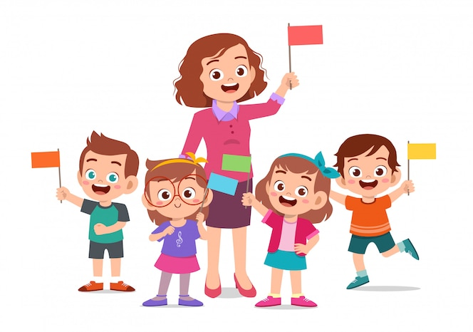 Cute happy kids and teacher hold flags