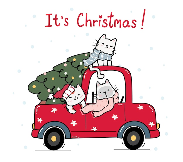 Cute happy kitten cat with christmas tree on red truck car, cartoon