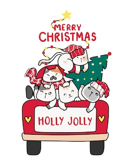 Cute happy kitten cat with christmas tree on red truck car, merry christmas word, holly jolly, cartoon doodle clipart flat vector, for greeting card, gift, print
