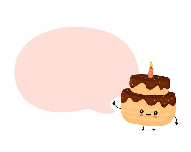 Милый счастливый слоистый торт ко дню рождения с одной свечой. мультипликационный персонаж.