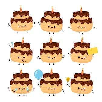 Милый счастливый слоистый торт ко дню рождения с одной коллекцией свечей. изолированные на белом фоне торт на день рождения
