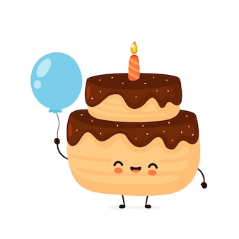 Cute happy layered birthday party cake with one candle with balloon.
