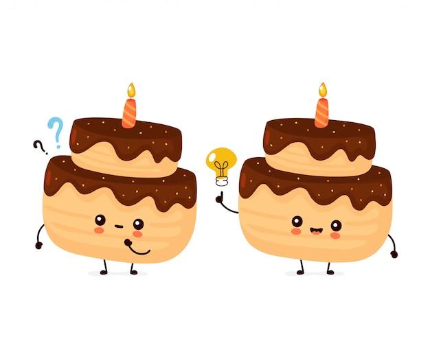 疑問符とアイデア電球と1つのキャンドルでかわいい幸せな層状誕生日パーティーケーキ。