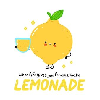 Милый счастливый лимон со стаканом лимонада