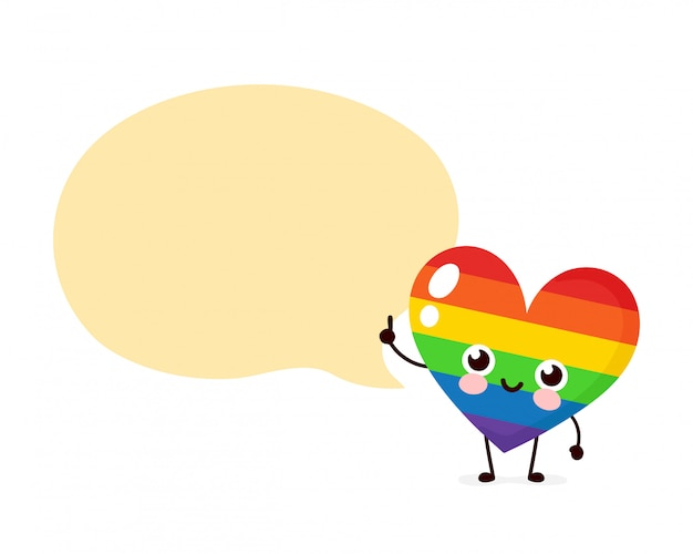 Cute happy lgbt heart with speech bubble.  flat cartoon character illustration  . isolated on white background. human rights. lgbtq. gay pride concept