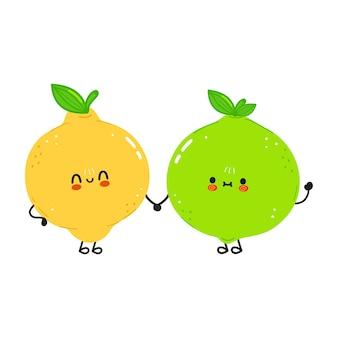 Милый счастливый лайм и лимон