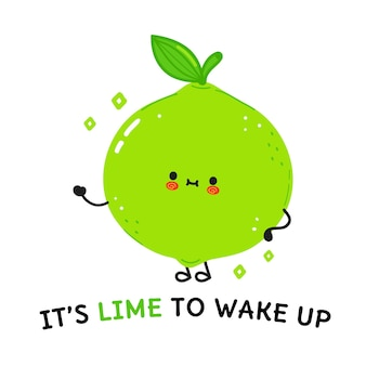 Cute happy lime concept card