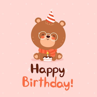 Cute happy little bear with festive cap and cake card