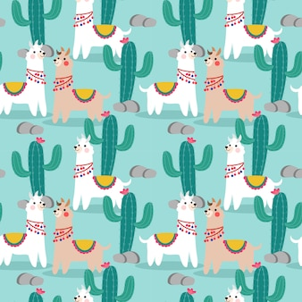 Cute happy llama and cactus seamless pattern.
